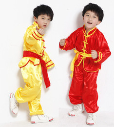 Wholesale Yellow Martial Arts Uniform - Chinese Traditional Kung Fu Wushu Martial Art Uniform Wushu Suit For Kids Standard Belt Included Yellow Red C0086