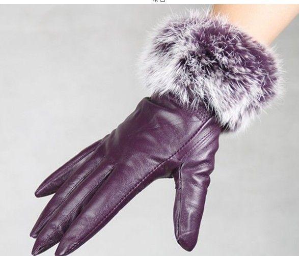 Art- und Weisefrauen-Kaninchenfell säumte echte Lederhandschuhe Hauthandschuhe LEDERHANDSCHUHE gemischte Farbe / # 3120 ab
