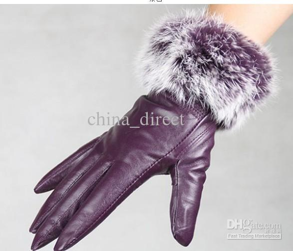 Moda mujer piel de conejo con flecos Guantes de cuero genuino guantes de piel GUANTES DE CUERO color mezclado / # 3120