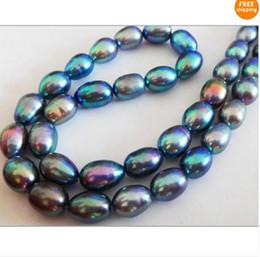 "Wholesale Natural Tahitian Pearls 14k - Fine Pearl Jewelry NATURAL 20""9-10mm TAHITIAN GENUINE PEACOCK GREEN PEARL NECKLACE 14K AAA+"