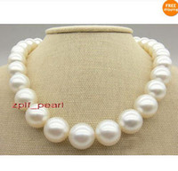 "Wholesale South Sea White Pearl Necklace - Fine Pearl Jewelry AAA+ 17""13-15mm Natural south sea white perfect round pearl necklace 14K"