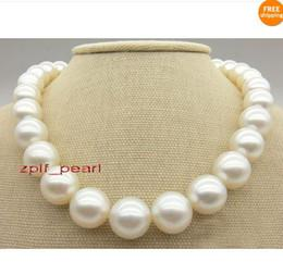 "Wholesale Natural White Pearl Necklace - Fine Pearl Jewelry AAA+ 17""13-15mm Natural south sea white perfect round pearl necklace 14K"