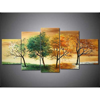 Wholesale Green Trees Wall Canvas - Hand-painted Hi-Q modern wall art home decorative Abstract landscape oil painting on canvas Green Yellow Trees 5pcs set framed