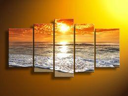 Wholesale Landscape Ocean Oil Painting - Hand-painted Hi-Q modern wall art home decorative landscape seascape ocean oil painting on canvas Golden Sunshine Ocean 5pcs set framed
