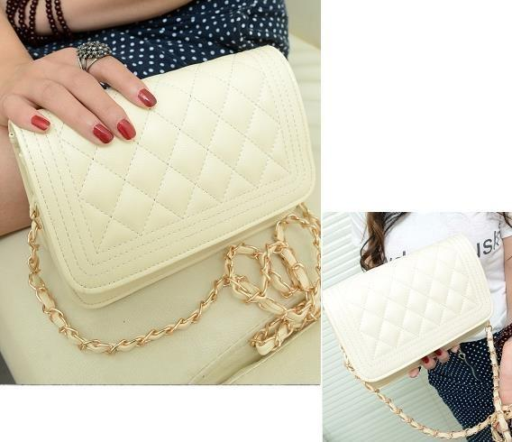 Small Chain Quilted Shoulder Cross Body Bag Pure Beige Black White ...
