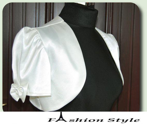 Custom Made Satin short sleeve wedding jacket Jackets bridal wraps with bowknot dh5132
