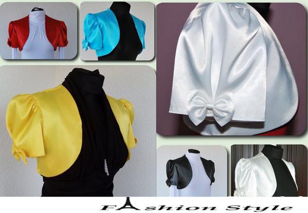 Custom Made Satin short sleeve wedding jacket Jackets bridal wraps with bowknot free shipping dh5132