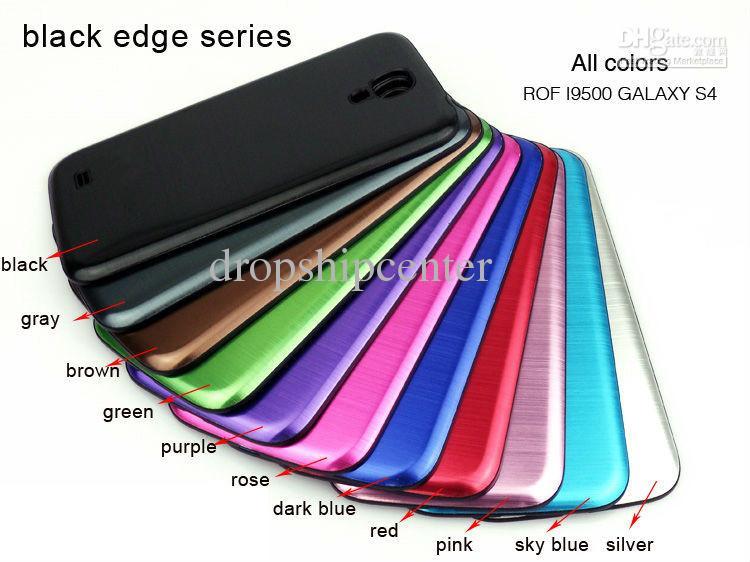 Neueste deluxe Chrom-Metalldraht-Zeichnungs-Reihen-Batterie-Rückseiten-freie intelligente Abdeckungs-Fall-Fälle für Samsung-Galaxie S4 i9500 Freies DHL-Verschiffen