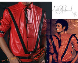 Wholesale Red Faux Leather Jacket Women - Adult Red Michael Jackson Thriller Jacket Costume