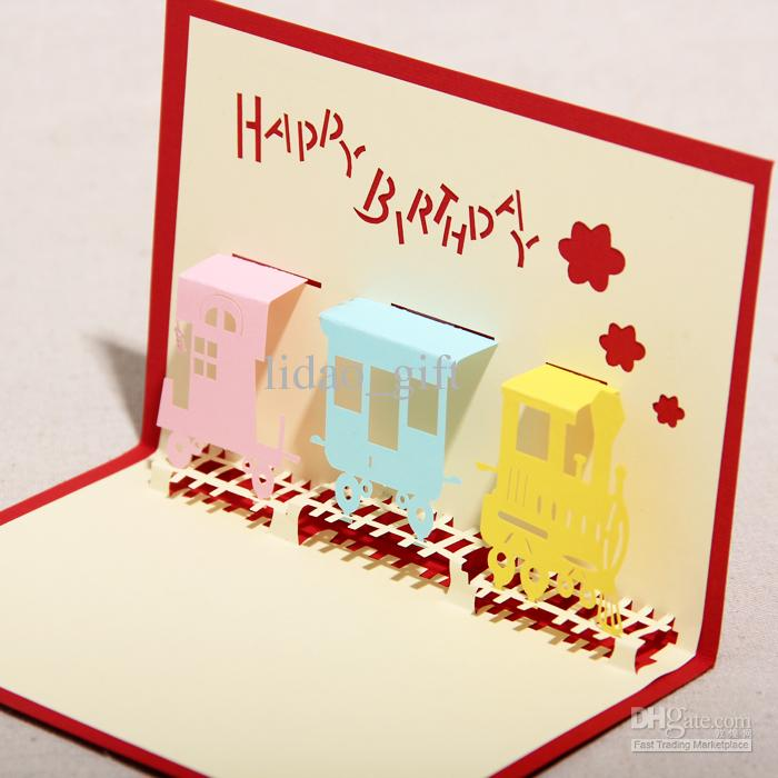 the happiness train handmade creative 3d pop up gift greeting