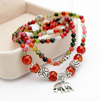 Wholesale Natural Red Garnet Bracelet - Fashion Jewellery Natural Garnets Agate Multilayer Baby Elephant Pendant Mix colors Beads Beaded Bracelet Free Shipping
