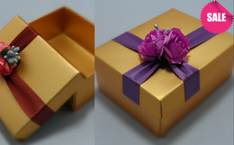 Wholesale Luxurious Paper Gift Boxes - Royal Style Luxurious Gold 200 Pics Wedding Favor Box Pink Gift Box Wedding Candy Box With Ribbon Wedding Party Favors Free Shipping