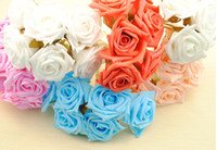 "Wholesale Latex Rose Bouquet - 72pcs 2.4"" Artificial Head Rose Bouquet Latex Bridal Flowers Wedding Centerpieces Craft"