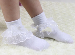 Wholesale White Cotton Leggings Wholesale - 2013 Lace Fancy Frill Socks Baby Girl White Pink with Lace Anklet Girls Cotton C0097