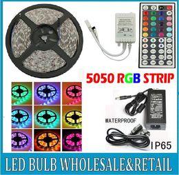 2019 tira led 3528 blanco frio Mejor precio !!! Cinta de luz flexible de tira LED RGB RGB SMD 5050 300Leds 5m Impermeable + 44Teclas IR Controlador remoto + Adaptador de corriente