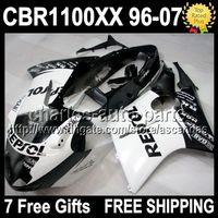Wholesale Honda Blackbird Fairings - 7gifts Repsol White For HONDA CBR1100XX Blackbird 1996 2007 CBR 1100XX Q823 NEW Black CBR1100 XX 96 97 98 99 00 01 02 03 04 05 06 07 Fairing
