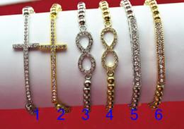 Wholesale Cross Bracelet Sideways - Hot! plating Gold Sideways Love- Cross- Infinity Bracelet Rhinestone Crystal Handmade free shipping E-packet China post