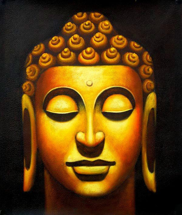 Modern Buddha Oil Painting Home Wall Decor Art Abstract Canvas Gold ...