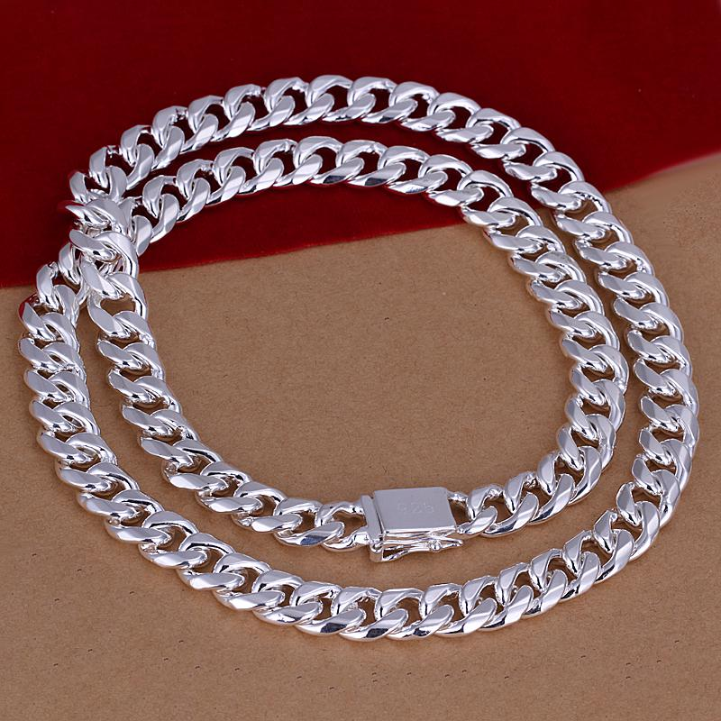 925 Gümüş Zincir Kolye Takı Moda 10mm 20 inç erkek Curb Zincir Kolye Takı Charm Erkek Kolye