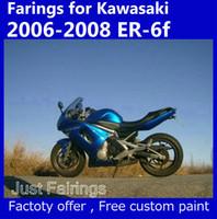 kundenspezifische geschenksets großhandel-7 Geschenke Blaue Verkleidung Set für Kawasaki Ninja 650r ER-6f 2006 2007 2008 Verkleidungskits 06 07 08 er6f 650R akzeptieren benutzerdefinierte Farbe