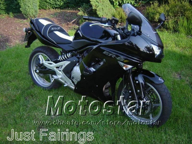Tutte le carenature nero lucido Kawasaki Ninja 650r ER-6f 2006 2007 2008 kit carene kit completo corpo 06 07 08 er6f