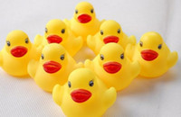 Wholesale Bulk Rubber - Hot! 40pcs lot Baby Bath Toy Bulks 4cm Rubber Ducks Baby Kids Children's Toys Sounds Duck [HZC001(5)*8]