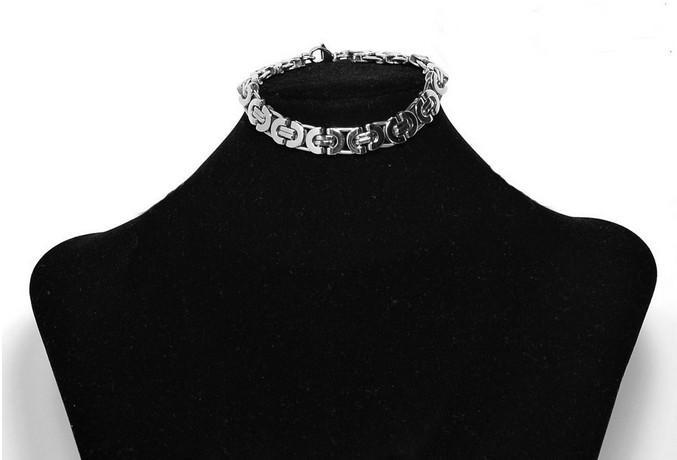 Moda uomo 8mm acciaio inossidabile 316L argento piatto bizantino collana braccialetto set di gioielli