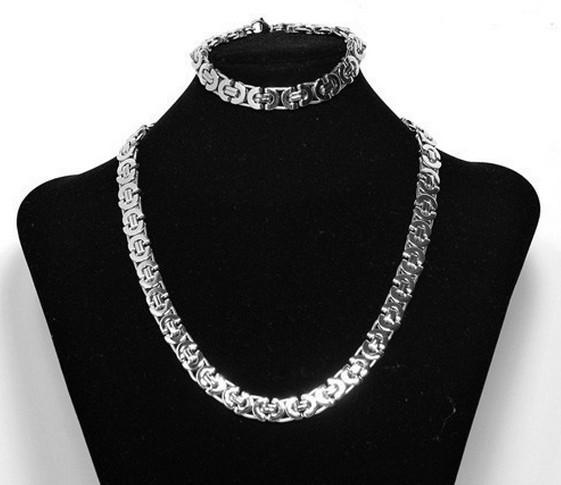 Art und Weisemänner 8mm 316L Edelstahl Silber flache byzantinische Kette Halskette Armband Schmuck-Set