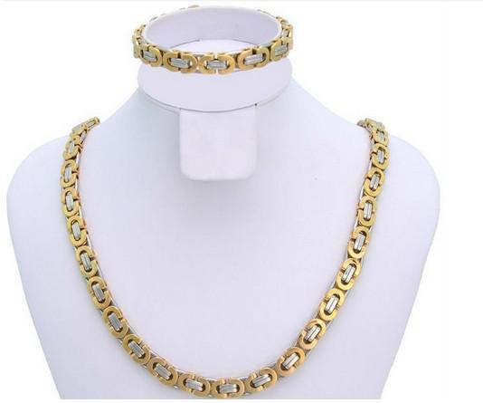 Hot style hommes 8 mm or argent en acier inoxydable 316L or or 8 mm de large plat byzantin chaîne collier bracelet ensemble de bijoux