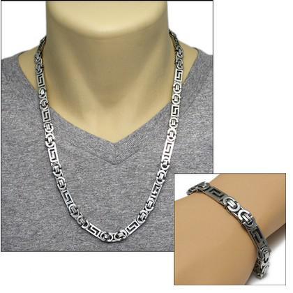 Neue Stil 316L Edelstahl Silber flach byzantinischen Kette Halskette Armband Schmuck-Set für Männer Schmuck