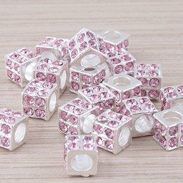 Wholesale European Rhinestone Cube - 50pcs Crystal Rhinestone silver plated Pink Charms Cube Big Hole Beads, Square Beads For European Bracelet Jewelry Findings