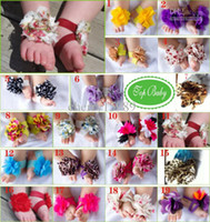 Wholesale Top Baby Flower Sandals Shoes - Wholesale - New arrival TOP BABY Sandals baby Barefoot Sandals Foot Flower Foot Ties girls Toddler Shoes 10pairs