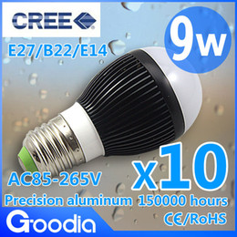 Bubble Ball Bulb Lamp Canada - Retail Free shipping High power CREE Dimmable 9W Led globe bulb E27 E14 B22 GU10 85-265V LED Light bubble Ball Lamps spot li