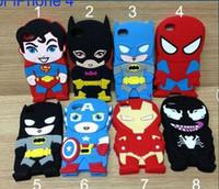 Wholesale 3d Venom Iphone Case - 3D Cartoon Soft Venom Ironman Captain America Spider man Superman Bat Man Batgirl Superhero Comics Rubber Case For iPhone 4 4S iphone 5 case
