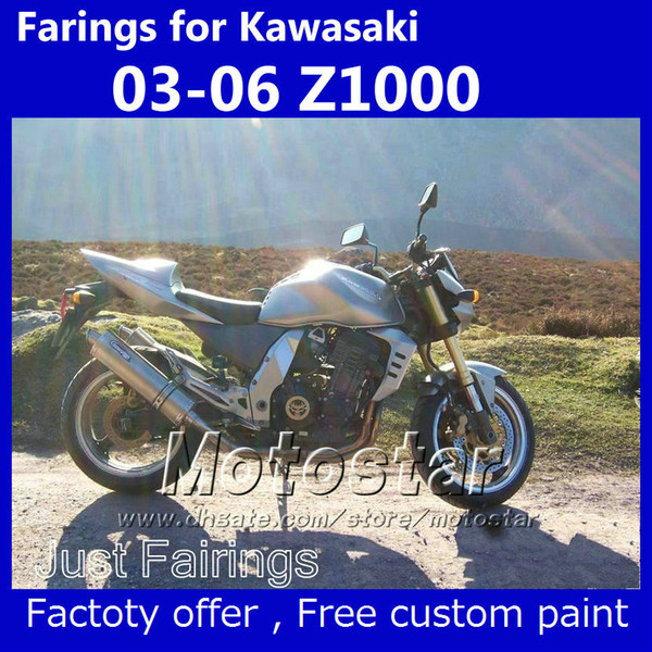 Full fairing kit + seat cover for Kawasaki Z1000 2003-2006 Z 1000 2004 2005 silver aftermarket fairiings kits SU63