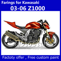 Wholesale Kawasaki Ninja Gold - Fairing kit & seat cover for Kawasaki Z1000 2003 2004 2005 2006 customize Z 1000 03 04 05 06 Metallic gold-red fairiings kits KM35