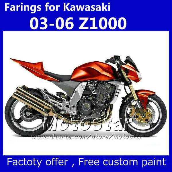 Fairing kit & seat cover for Kawasaki Z1000 2003 2004 2005 2006 customize Z 1000 03 04 05 06 Metallic gold-red fairiings kits KM35