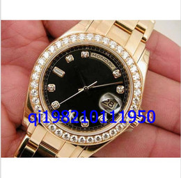 Bracelets en diamant saphir en Ligne-Shippeng hommes de luxe NOUVEAUX HOMMES 18K JAUNE D'OR MASTERPIECE NOIR DIAMANT CADRAN 18948 Saphir Verre automatique montres-bracelets