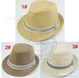 Wholesale Straw Hat Wholesalers - 2013 hot selling Children Summer Fedora Hats with bands Kids Jazz Caps Baby Straw Fedora hats children dicers 10pcs