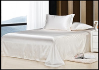 Wholesale Luxury Silk Bedspreads King Size - Luxury ivory cream white silk satin bedding set king size queen full twin quilt duvet cover bed in a bag sheets bedspreads bedsheet linen