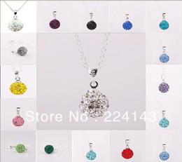 6 unids color mezclado venta al por mayor 925 plata esterlina Shamballa 10mm bola de cristal colgante collar de las muchachas encantadoras envío libre desde fabricantes