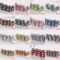 Wholesale European Rhinestone Bead 14mm - 50pcs lot Mixed Color Pave Crystal Rhinestone Rondelle Charm European Beads Big Hole Beads Spacers Fit Bracelets Jewelry Findings 7 x 14mm