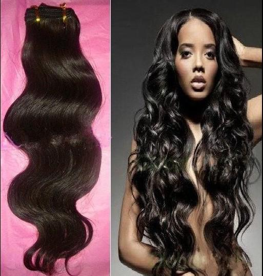 15% OFF 4 pcs / lot 100% non transformés vierge brésilienne vague de corps de cheveux humains extension de trame mélange longueur DHL livraison gratuite naturel # 1b couleur