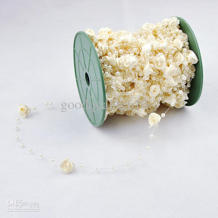 30 m 12 mm 4 mm flor color de rosa perla perla guirnalda del pelo stying decoración de la boda artesanía bricolaje