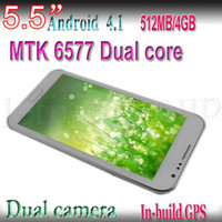 Wholesale Mtk6577 Cell Phone - Cheap 5.5inch MTK6577 N7100 Dual Core 1.2GHZ CPU Android 4.1 with 8.0M Camera Cell phone Smartphone