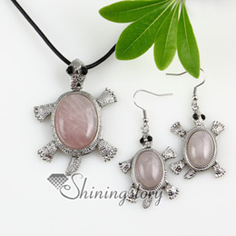 Wholesale Semi Precious Stone Necklace Sets - sea turtle movable amethyst rose quartz jade semi precious stone necklaces pendants and dangle earrings sets Handmade jewelry Spss0048cy0