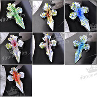 Wholesale Glass Cross Pendants For Necklaces - 15pcs Classic Lampwork Glass Flower Cross pendant bead For Necklace Jewelry