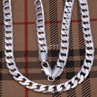 """Wholesale Flat Silver Necklace - Hot 925 Sterling Silver plated 8mm 20"""" Flat Chains Necklace snake Men's Necklace Christmas Gift"""