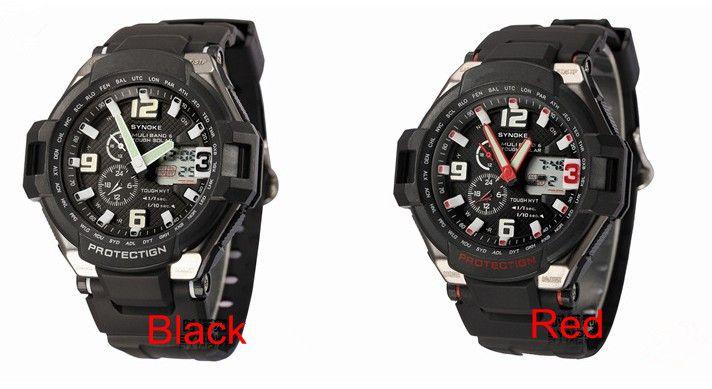 Natación deportiva Relojes impermeables Pantalla dual Digital Led Relojes de pulsera Hombres PU Band LED Night Light Drop Envío gratis