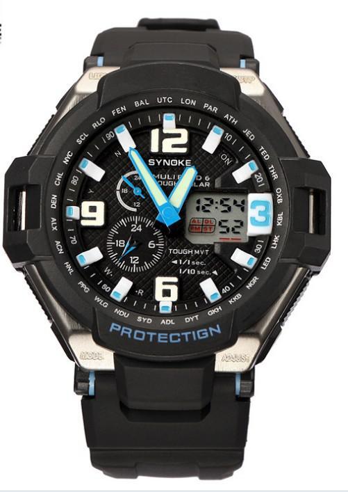 Sports Swimming Waterproof Watches Dual Display Digital Led Wrist Watches Men PU Band LED Night Light Drop